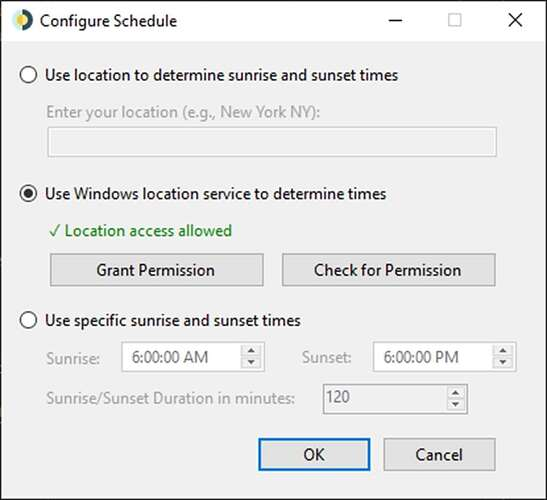 WinDynamicDesktop with its location settings.